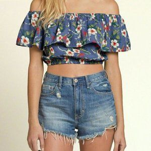Hollister Floral Cropped Off Shoulder Top Medium